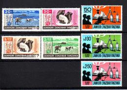 133h * ZANZIBAR 320/3, 346/8 * MICHEL 2,30 * POSTFRISCH MIT FALZ  **!! - Zanzibar (1963-1968)