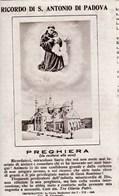 Image Pieuse Ricordo Di S. Antonio Padova Preghiera (italie) - Images Religieuses