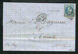 Belle Lettre De St Martory Pour Tardets ( 1869 ) - Cachet Convoyeur Station ST MARTORY T.M. & Cachet BM - 1863-1870 Napoleon III With Laurels