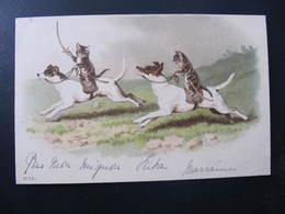 CPA - Illustrateur : ? - CHATS CHEVAUCHANT DES CHIENS - N° 881 - Cats