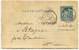 FRANCE CARTE-LETTRE DEPART DIVon 15 SEPT 90 INFANTERIE POUR LA FRANCE  (CACHET DE MANOEUVRES) - Biglietto Postale