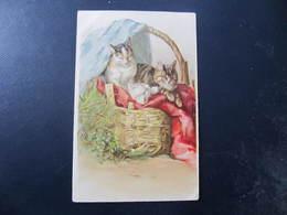 CPA - Illustrateur : ? - CHATS AU PANIER - Cats