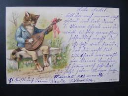 CPA - Illustrateur : ? - CHAT A LA MANDOLINE - B & K I L - Cats