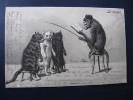 CPA - Illustrateur : ? - SINGE FAISANT L'ECOLE AUX CHATS - K.F. Editeur Paris  Série 178 - N° 4008  - Gaufrée - Cats
