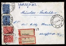 A5448) Russia Russland R-Brief Goldingen 21.4.14 N. München M. 2 R-Zetteln - 1857-1916 Imperium