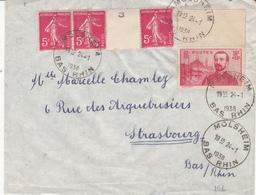 Env Affr Y&T 278B + 353 Obl MOLSHEIM Du 24.1.1938 Adressée à Strasbourg - Marcophilie (Lettres)