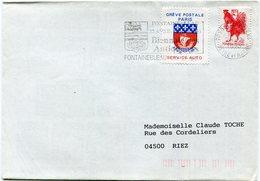 """FRANCE LETTRE AFFRANCHIE TIMBRE DE GREVE """"GREVE POSTALE DE PARIS FEVR. 1993 SERVICE AUTO"""" DEPART FONTAINEBLEAU 20-2-1993 - Marcophilie (Lettres)"""