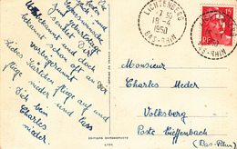 CP Affr Y&T 813 Obl LICHTENBERG Du 18.4.1950 Adressée à Volksberg - 1849-1876: Classic Period