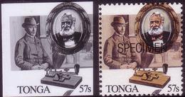 Tonga 1989 - Telegraph - Samuel Morse Code - Black & White Proof + Specimen - Tonga (1970-...)