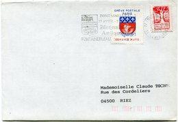 """FRANCE LETTRE AFFRANCHIE TIMBRE DE GREVE """"GREVE POSTALE DE PARIS FEVR. 1993 SERVICE AUTO"""" DEPART FONTAINEBLEAU 20-2-1993 - Poststempel (Briefe)"""