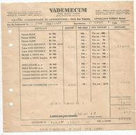 Facture, 1951 , VADEMECUM , LEVALLOIS - PERRET , Seine ,laboratoires Pharmaceutiques , Frais Fr 1.45 E - France