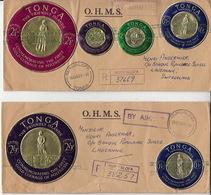 Deux (2) Lettres O.H.M.S. Nukualofa 1963 Dest. Lausanne, Switzerland - Tonga (1970-...)