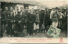 INDOCHINE CARTE POSTALE DU TONKIN N°3321 YEN-THE GROUPE COMPRENANT LE BEAU-PERE....... DEPART MONCAY 20 AVRIL 12 TONKIN - Postales