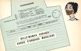 TELEGRAMME -BELLE-MAMAN- ENRAGEE ENVOIE D'URGENCE MUSELLIERE - Poste & Facteurs