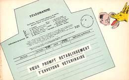 TELEGRAMME -VOEUX PROMPT RETABLISSEMENT T'ENVOYONS VETERINAIRE - Poste & Facteurs