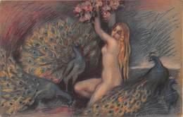 Illustration - Oiseau Paon Jeune Femme Nue Nu Nude - Par Adelina Zandrino - érotique - Oiseaux