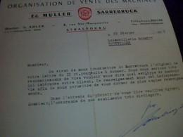 Facture Organisation  De Vente Des Machines Ed Muller  A Sarrebruck  Annee 1955 Ecrit  En Francais - Germany