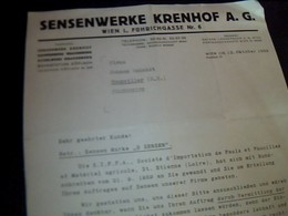 """Facture D Allemagne """"sensenwerke   Krenhof A.g. A Koflach  """" Annee 1959  Ecrit En Allemand - Germany"""