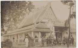 Real Photo Probably Laos Temple With Monks Used From Saigon 1904 - Laos