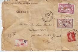 LETTRE Chargé 1910 V.d.six Milles Francs Semeuse 10c Rouge Et Merson 1f Et 50c   2scans - Marcophilie (Lettres)