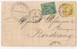 SAGE Bicolore, Tarif 2° échelon. ANGOULEME Charente. LAC GOBLET DURANDAUR - 1877-1920: Periodo Semi Moderno