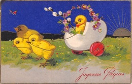 Illustration - Joyeuses Pâques - Poussins Char Oeuf - Birds