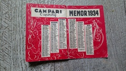 Petit Calendrier Almanach Campari 1934 Memor Vademecum De Poche Alcool Apéritif - Calendriers
