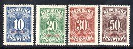 161 - 490 - ALBANIA 1926 , Segnatasse  Yvert N. 26/29  ***  Gomma  Stanca - Albania