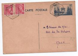 1940 - CARTE POSTALE ENTIER ARC DE TRIOMPHE + MERCURE De PLASCASSIER (ALPES MARITIMES) - Entiers Postaux