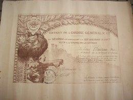 Diplôme 1918 ( Extrait De L'Ordre Général N° 139 ) - Diploma & School Reports