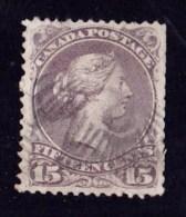 Canada 1868 Queen Victoria 15c Pale Reddish-purple Used  SG 61a - 1851-1902 Reign Of Victoria