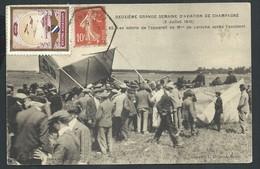 +++ CPA - Avion - 2meSemaine Aviation De Champagne 1910 - Accident Mme De La Roche - Cachet Octogonal Vignettes  // - Meetings