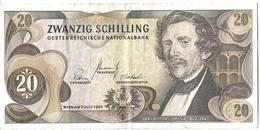 """AUSTRIA - Banconota 20 SCHILLING """" Ritter Von Ghega """" 2 Luglio 1967 - Austria"""