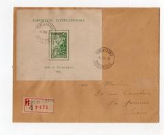 !!! PRIX FIXE : MARTINIQUE, BLOC FEUILLET 1937 SUR LETTRE RECOMMANDEE DE FORT DE FRANCE DU 4/5/1938 - Lettres & Documents