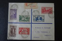 LETTRE En Recommandée.de GUADELOUPE Affranchie  Avec La  Série De 1937 . - 1937 Exposition Internationale De Paris
