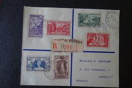 LETTRE En Recommandée.de MARTINIQUE Affranchie  Avec La  Série De 1937 . - 1937 Exposition Internationale De Paris