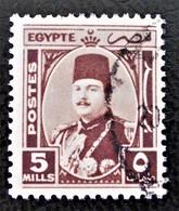 ROYAUME - EFFIGIE DU ROI FAROUK 1944/46 - OBLITERE - YT 227 - MI 272 - TEINTE BRUNE - RARE !! - Egypt