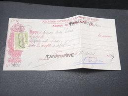 MADAGASCAR - Timbre Fiscal Sur Document De Tananarive En 1929 - L 17180 - Madagascar (1889-1960)
