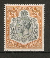 BERMUDA 1932 12s 6d SG 93 LIGHTLY MOUNTED MINT TOP VALUE OF THE SET WATERMARK MULTIPLE SCRIPT CA Cat £250 - Bermuda