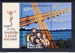 ICELAND 2000 Millenary Of Christianity Block  MNH / **.  Michel Block 25 - 1944-... Republic