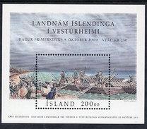 ICELAND 2000 Icelandic Settlement In Canada MNH / **.  Michel Block 27 - 1944-... Republic