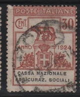 1924 Parastatali Cassa Nazionale Ass. Soc. 30 C. US - 1900-44 Vittorio Emanuele III