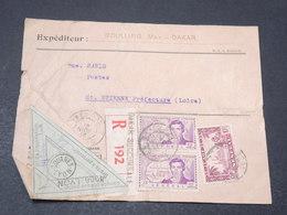 SÉNÉGAL - Enveloppe ( Devant ) En Recommandé De Dakar Avec étiquette De Douane De Lyon - L 17190 - Sénégal (1887-1944)