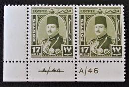 ROYAUME - EFFIGIE DU ROI FAROUK 1944/46 - PAIRE NEUVE - YT 230 - MI 275 - COIN DE FEUILLE - Egypt