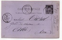 1881--entier Carte Postale Repiqué SAGE  10c Noir -- Cachets CORBIGNY-Nièvre Et ALBI-Tarn-vignette DECLA Fils - Postal Stamped Stationery