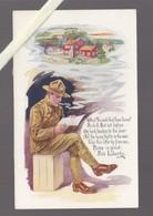 Illustrateur Humoristique -  Militaire Allié Americain - Guerre 14/18 -  Lecture Lettre - War 1914-18