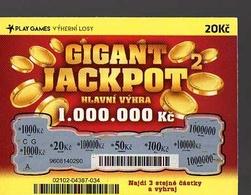 8-433 CZECH REPUBLIC -2017 - Play Games - Gigant Jackpot 20 Kc A Scratchcard  A Scratch Off, Scratch Ticket - Lotterielose