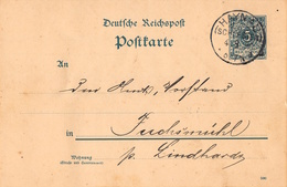 """DR, P 20, DV """"""""590"""""""", RECHTS 5, HAYNAU, Schlesien 4.8.90, Ganzsache, - Allemagne"""
