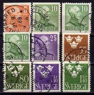 SCHWEDEN 1948 - MiNr: 332-339 Lot 9x  Used - Schweden