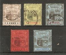 MAURITIUS 1904 - 1907 VALUES TO 15c SG 164, 166-168, 171 WATERMARK MULTIPLE CROWN CA FINE USED Cat £20+ - Mauritius (...-1967)